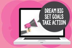 Mål för uppsättning för dröm för ordhandstiltext tar stora handling Affärsidé för att motivationen ska följa din dröminspirationm royaltyfri illustrationer