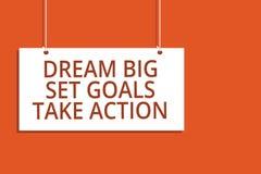 Mål för uppsättning för dröm för ordhandstiltext tar stora handling Affärsidé för att motivationen ska följa ditt hängande bräde  royaltyfri illustrationer