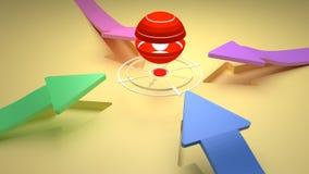 MÅL - Mittpunkt med fyra färgrika pilar för riktning Fotografering för Bildbyråer