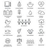 Mål och hållbar bosatt linje Art Vector Icons för hållbar utveckling för genomförandebegrepp Royaltyfri Foto