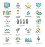 Mål och hållbar bosatt linje Art Vector Icons för hållbar utveckling för genomförandebegrepp Arkivbilder