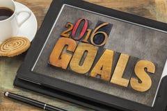 2016 mål på den digitala minnestavlan royaltyfri foto