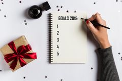 Mål planerar drömmar gör för att göra listan för för julbegrepp för nytt år 2018 handstil Royaltyfri Fotografi