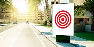 mål som annonserar på affischtavlan på förorter arkivfoton