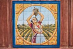 Måla av kvinnan som väljer druvor i en vingård som dras på tegelplattor royaltyfria bilder