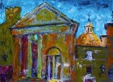 Måla av portiken av Octavia i Rome, Italien, royaltyfri bild
