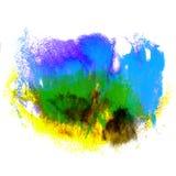 Måla blått, gulna, gräsplanslaglängden plaskar färg Royaltyfri Bild