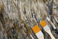 Måla borsten på bakgrund för abstrakt konst för färg Royaltyfria Bilder