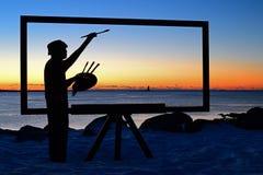 Måla den perfekta soluppgången Arkivfoton
