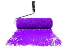 måla den purpura rullen Arkivfoto