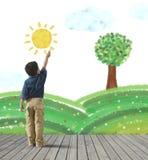 Måla en grön panorama stock illustrationer