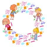 Måla för barn Idérik grupp för skola- och dagisungar Utbildning lek och växer tillsammans flickor för konstpojkegem vektor illustrationer
