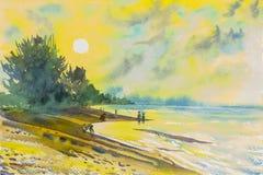 Måla för Seascape som är färgrikt av stranden och sinnesrörelse i solnedgång vektor illustrationer