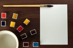 måla för tappningvatten för papper den set vattenfärgen Arkivfoton