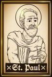 Måla i hand dragen stil med helgonet Paul Image, vektorillustration royaltyfri illustrationer
