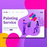 Måla illustrationen för vektor för stil för servicelägenhet som landar sidan för website royaltyfri illustrationer