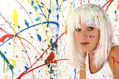 måla kvinnan Fotografering för Bildbyråer