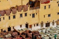 Måla läder i den Fez garveriet arkivbilder