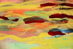 Måla mjukt gult rött och moln, abstrakt bakgrund Royaltyfri Fotografi