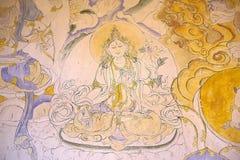 Måla på Jakaren Dzong, Jakar, Bhutan Arkivfoto