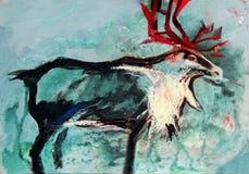 Måla på papper av hjortar Arkivfoton