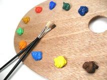 måla paintbrushes royaltyfria bilder