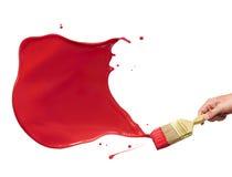måla röd färgstänk Arkivfoto