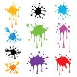 måla set färgstänk Royaltyfri Fotografi