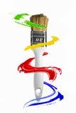 Måla slår orbiting runt om paintbrushen stock illustrationer