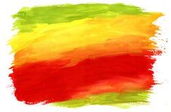 Måla texturerad bakgrund som är röd som är grön och som är gul Arkivbild