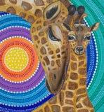 Måla två giraff med en mandala, ljusa färger royaltyfri illustrationer