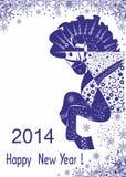 Målad blå häst. Lyckligt nytt år! Arkivfoton