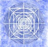 målad blå mandala Royaltyfri Foto