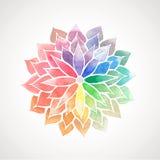 Målad blomma för vektorregnbåge vattenfärg Arkivbild