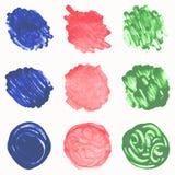 Målad cirkeluppsättning för vattenfärg hand Fotografering för Bildbyråer