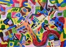 målad färgrik hand för abstrakt bakgrund stock illustrationer