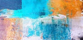 Målad färgrik konst- och abstrakt begreppmålning på kanfas för bakgrund, genom att använda akrylfärgstil stock illustrationer
