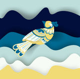 Målad fågel på blåa vågor Arkivbilder