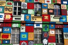 Målad facade på den Metelkova staden i Ljubliana Fotografering för Bildbyråer