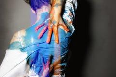 målad flicka royaltyfria bilder