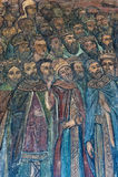 Målad fresco i en kyrka Fotografering för Bildbyråer