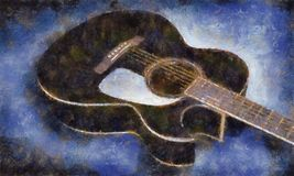 målad gitarrolja Arkivfoto