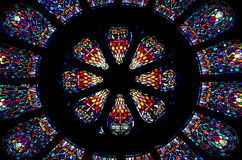 Målad glas Rose Window Royaltyfri Fotografi