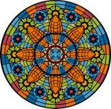 Målad glasfönster - rosett Fotografering för Bildbyråer