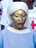 Målad haitier sjuksköterska fotografering för bildbyråer