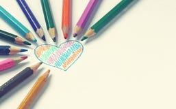 Målad hjärta med färgar ritar Royaltyfri Fotografi