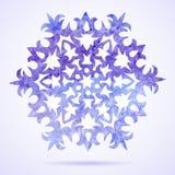 Målad julsnöflinga för vattenfärg blått Royaltyfri Illustrationer