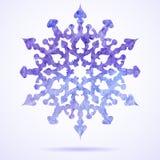 Målad julsnöflinga för vattenfärg blått Vektor Illustrationer