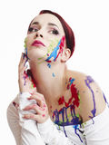 målad kvinna Arkivfoto