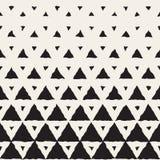 Målad linje rastrerad lutningmodell för vektor sömlös svartvit hand för geometriska trianglar Arkivfoto